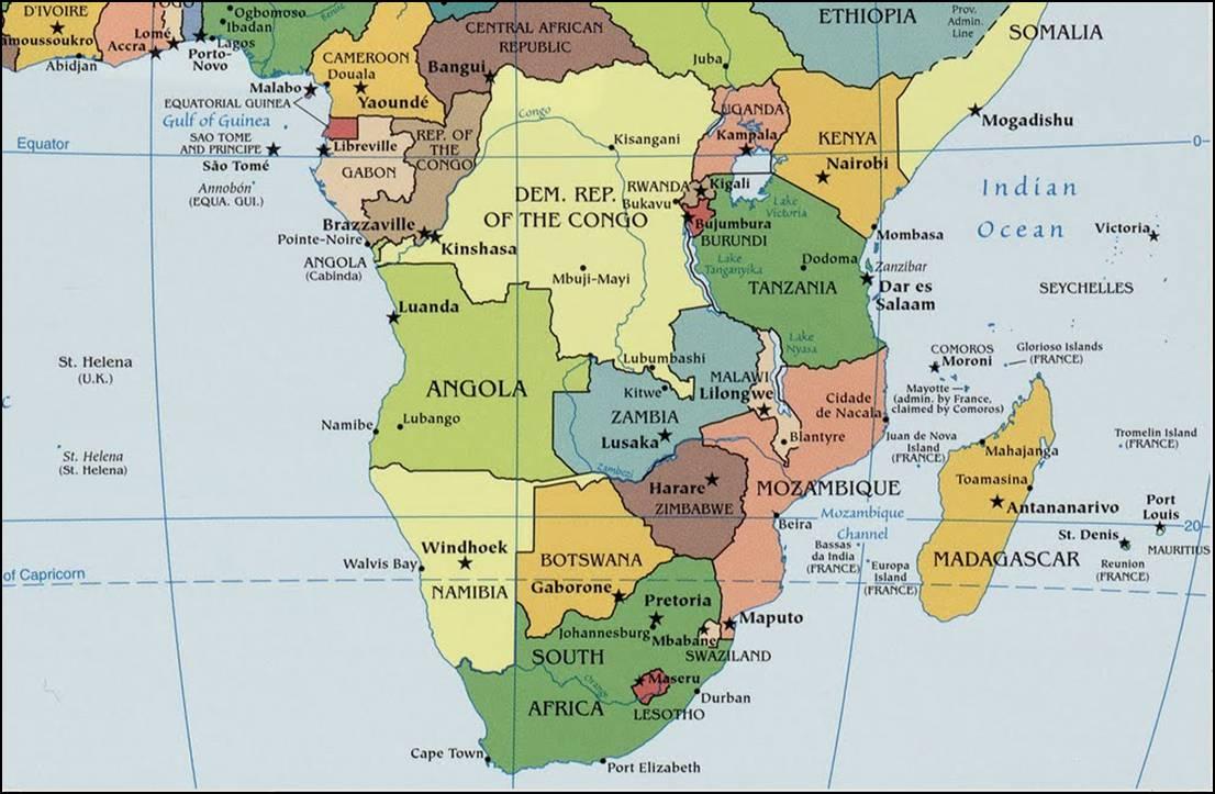 Kaart van zuidelijk Afrika